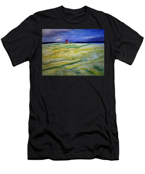 Girl With Dog On The Beach Men's T-Shirt (Athletic Fit)
