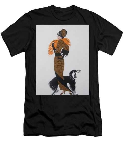 Men's T-Shirt (Slim Fit) featuring the painting Girl With Orange Fur by Nora Shepley