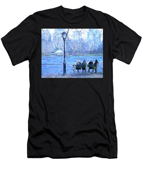 Girls At Pond In Central Park Men's T-Shirt (Athletic Fit)