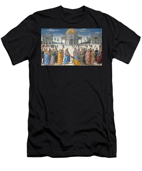 Giving Of The Keys To St Peter, From The Sistine Chapel, 1481 Men's T-Shirt (Athletic Fit)