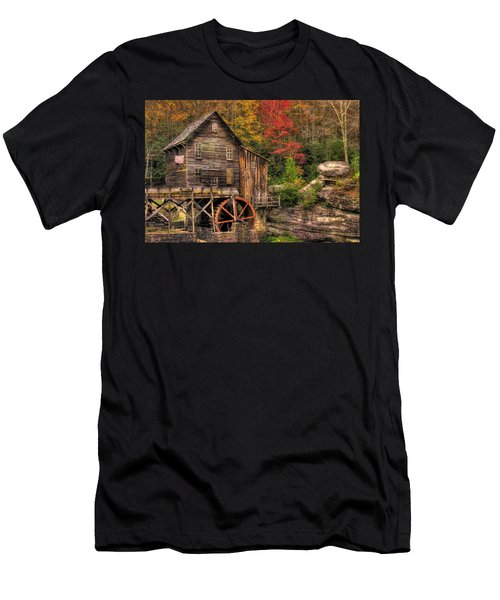 Glade Creek Grist Mill-1a Babcock State Park Wv Autumn Late Afternoon Men's T-Shirt (Athletic Fit)