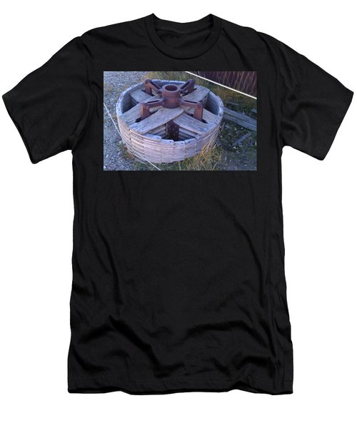 Men's T-Shirt (Slim Fit) featuring the photograph Gold Mine Pulley by Fortunate Findings Shirley Dickerson
