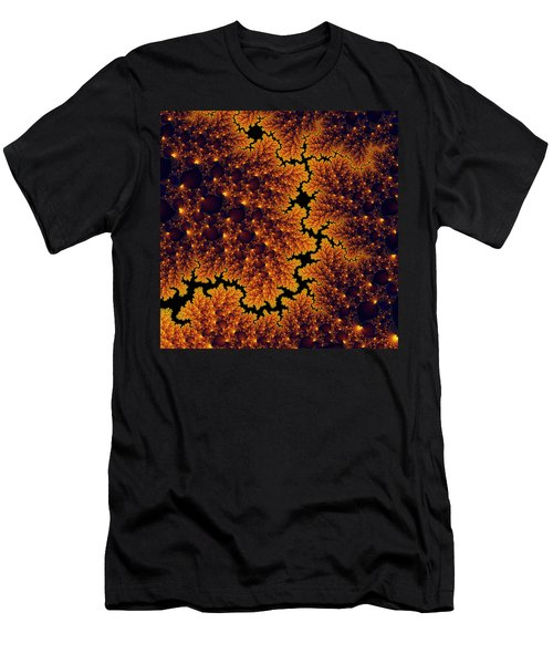 Golden And Black Fractal Universe Men's T-Shirt (Athletic Fit)