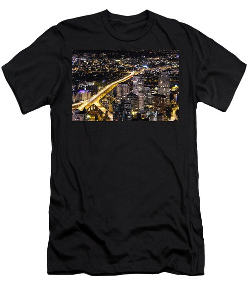 Men's T-Shirt (Slim Fit) featuring the photograph Golden Artery - Mcdxxviii By Amyn Nasser by Amyn Nasser