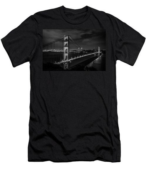 Golden Gate Evening- Mono Men's T-Shirt (Slim Fit) by Linda Villers