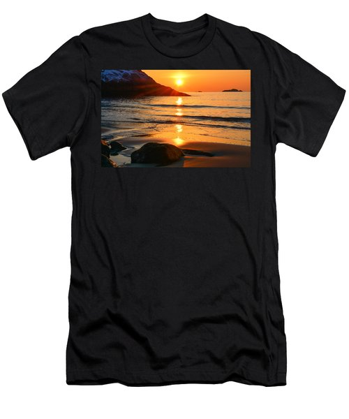 Men's T-Shirt (Athletic Fit) featuring the photograph Golden Morning Singing Beach by Michael Hubley