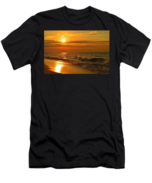 Golden Sunrise Colors With Waves And Horizon Clouds On Navarre Beach Men's T-Shirt (Athletic Fit)