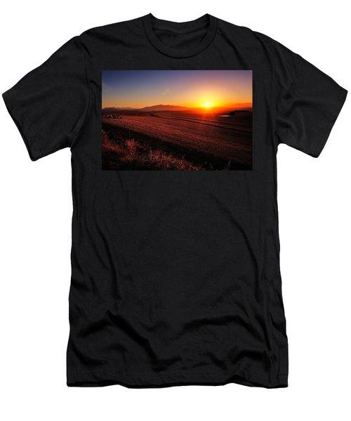 Golden Sunrise Over Farmland Men's T-Shirt (Athletic Fit)