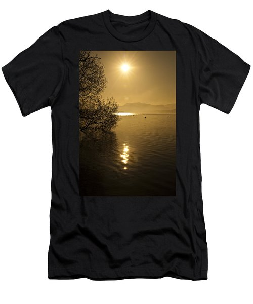 Men's T-Shirt (Slim Fit) featuring the photograph Golden Ullswater Evening by Meirion Matthias