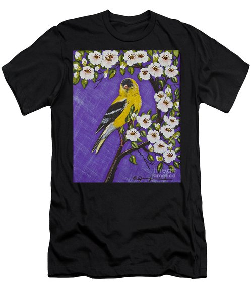 Goldfinch In Pear Blossoms Men's T-Shirt (Athletic Fit)