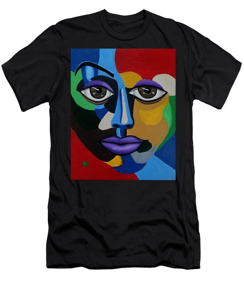 Colorful Illusion Abstract Face Art Painting, Big Brown Eye Art, Optical Artwork Men's T-Shirt (Athletic Fit)