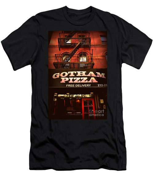 Gotham Pizza Men's T-Shirt (Slim Fit) by Miriam Danar