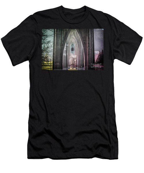 Gothic Arches Hands Folded In Prayer Men's T-Shirt (Athletic Fit)