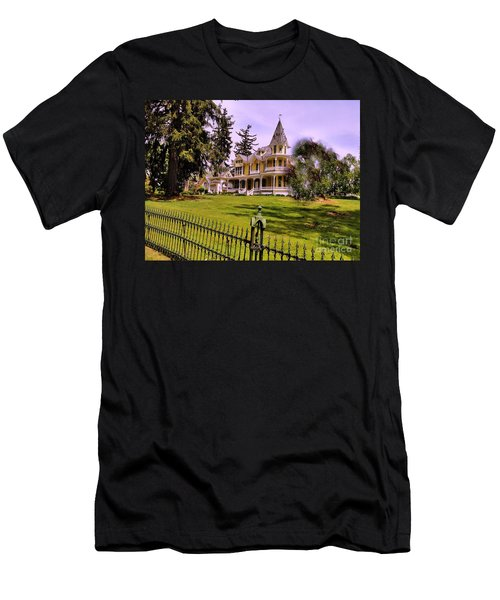 Men's T-Shirt (Slim Fit) featuring the photograph Grand Yellow Victorian And Gate by Becky Lupe