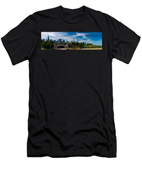 Grant Park Chicago Skyline Panoramic Men's T-Shirt (Slim Fit) by Adam Romanowicz