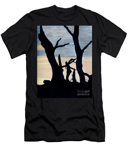 Men's T-Shirt (Slim Fit) featuring the drawing Gray Sunset by D Hackett