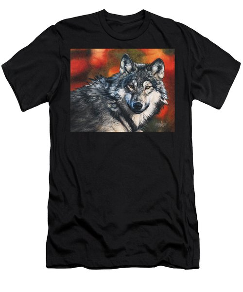 Gray Wolf Men's T-Shirt (Slim Fit) by Joshua Martin