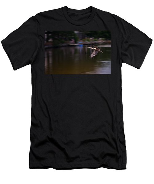Great Blue Heron In Flight Men's T-Shirt (Athletic Fit)
