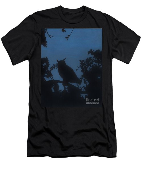 Men's T-Shirt (Slim Fit) featuring the drawing Owl At Night by D Hackett