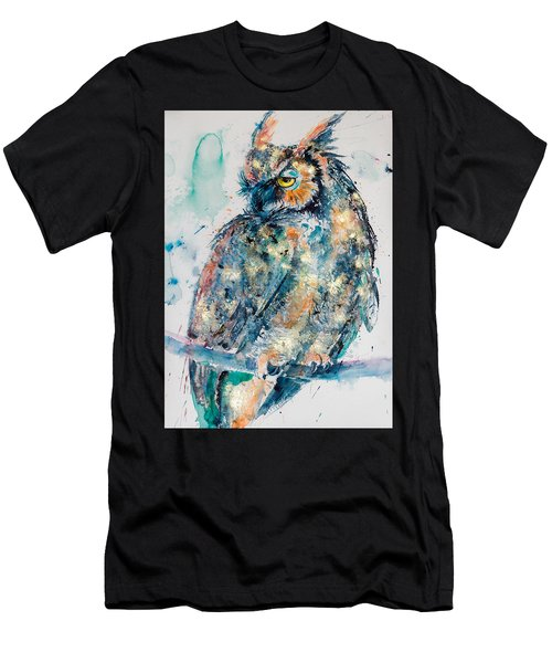 Great Horned Owl In Gold Men's T-Shirt (Athletic Fit)