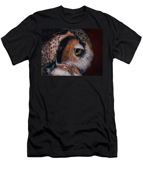 Men's T-Shirt (Slim Fit) featuring the painting Great Horned Owl Portrait by Pat Erickson