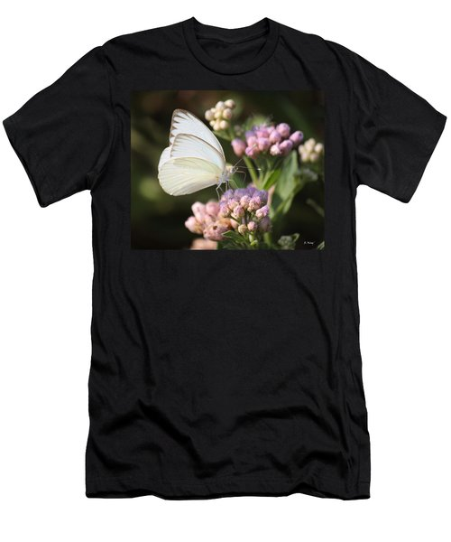 Great Southern White Butterfly On Pink Flowers Men's T-Shirt (Athletic Fit)