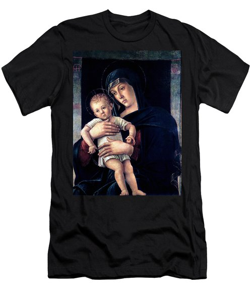 Men's T-Shirt (Slim Fit) featuring the painting Greek Madonna With Child 1464 Giovanni Bellini by Karon Melillo DeVega