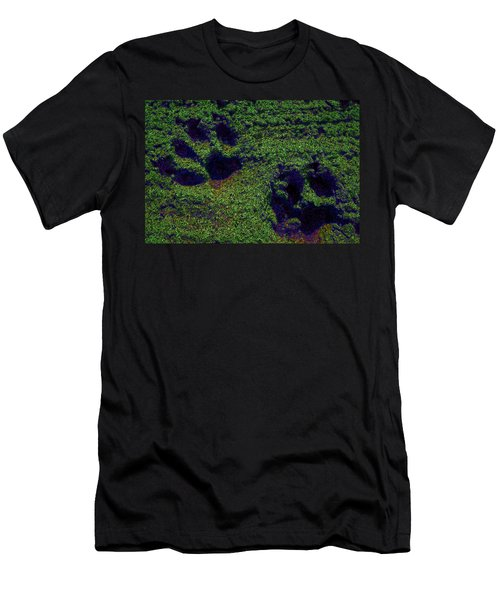 Green Glow Paw Prints Men's T-Shirt (Athletic Fit)