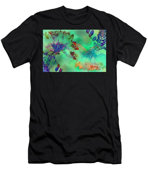 Green Hibiscus Mural Wall Men's T-Shirt (Slim Fit) by Claudia Ellis