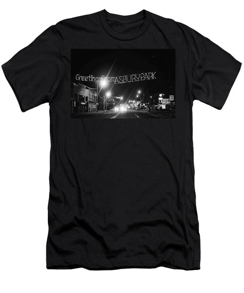 Greetings From Asbury Park New Jersey Black And White Men's T-Shirt (Athletic Fit)