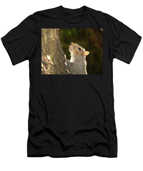 Men's T-Shirt (Slim Fit) featuring the digital art Grey Squirrel by Ron Harpham