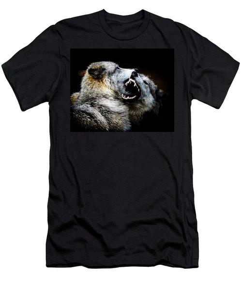 Grey Wolf Fight Men's T-Shirt (Slim Fit) by Steve McKinzie