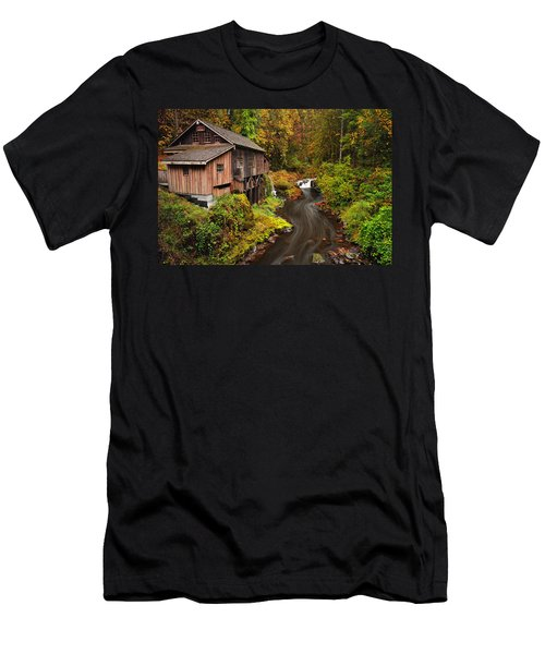 Grist Mill In Autumn Men's T-Shirt (Athletic Fit)