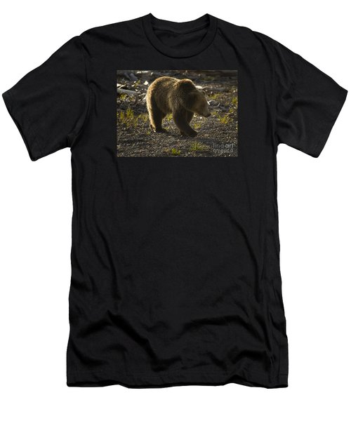 Men's T-Shirt (Slim Fit) featuring the photograph Grizzly Bear-signed-#4429 by J L Woody Wooden