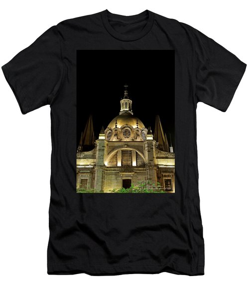 Men's T-Shirt (Slim Fit) featuring the photograph Guadalajara Cathedral At Night by David Perry Lawrence