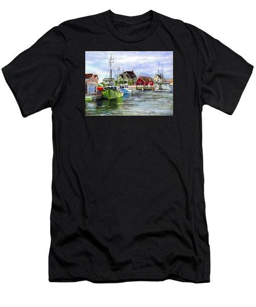 Peggys Cove Nova Scotia Watercolor Men's T-Shirt (Athletic Fit)