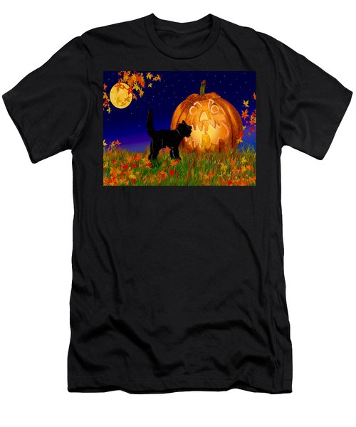 Halloween Black Cat Meets The Giant Pumpkin Men's T-Shirt (Slim Fit) by Michele Avanti