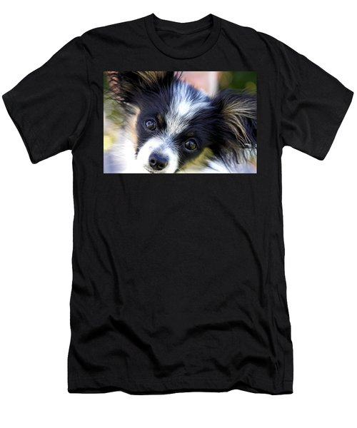 Men's T-Shirt (Slim Fit) featuring the photograph Hanna The Papillon Puppy by Karon Melillo DeVega