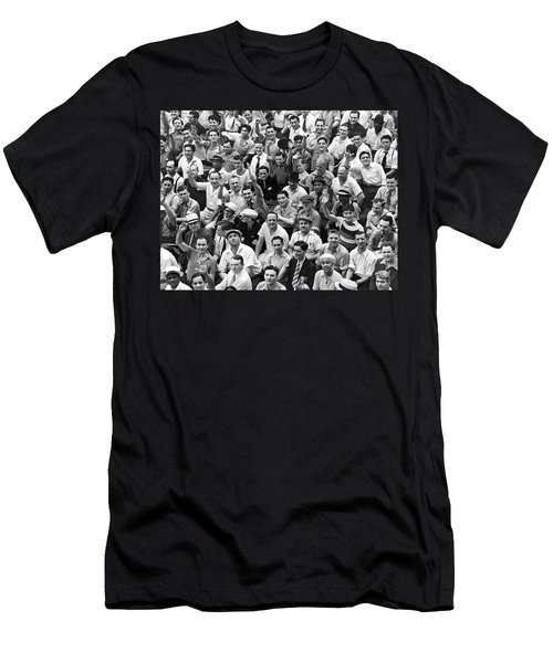 Happy Baseball Fans In The Bleachers At Yankee Stadium. Men's T-Shirt (Slim Fit) by Underwood Archives