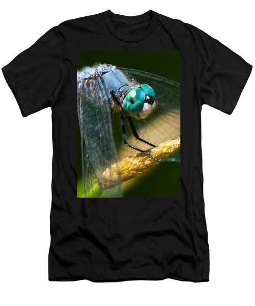 Happy Blue Dragonfly Men's T-Shirt (Slim Fit) by Janis Knight
