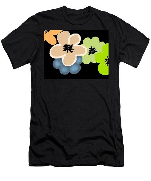 Men's T-Shirt (Slim Fit) featuring the digital art Happy Flowers Blue by Christine Fournier