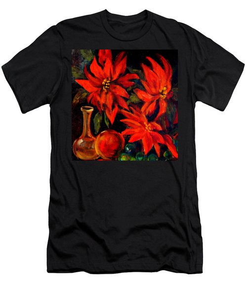 New Orleans Red Poinsettia Oil Painting Men's T-Shirt (Slim Fit) by Michael Hoard