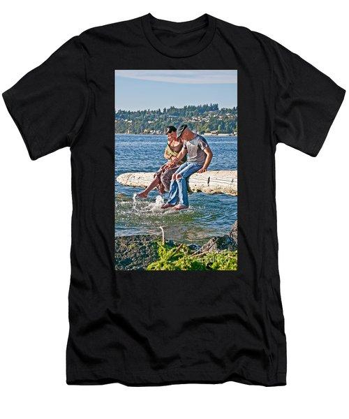 Happy Older Couple Splashing Feet In Water Art Prints Men's T-Shirt (Athletic Fit)