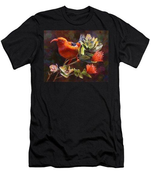 Hawaiian IIwi Bird And Ohia Lehua Flower Men's T-Shirt (Athletic Fit)