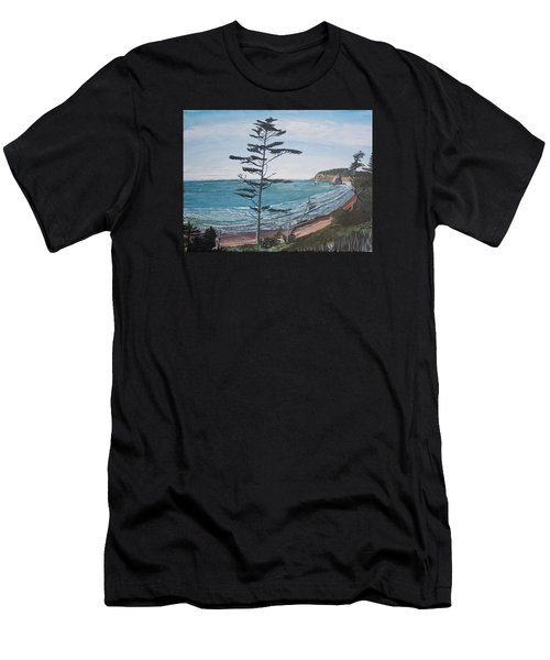 Hay Stack Rock From The South On The Oregon Coast Men's T-Shirt (Athletic Fit)