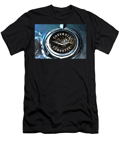 Men's T-Shirt (Slim Fit) featuring the photograph Hdr Vintage Corvette Emblem Art by Lesa Fine