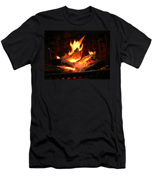 Heart-shaped Ember In Roaring Fire Men's T-Shirt (Slim Fit) by Connie Fox