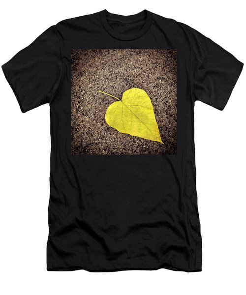 Heart Shaped Leaf On Pavement Men's T-Shirt (Athletic Fit)