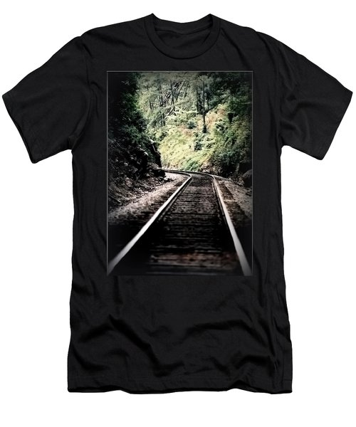 Hegia Burrow Railroad Tracks  Men's T-Shirt (Slim Fit) by Lesa Fine