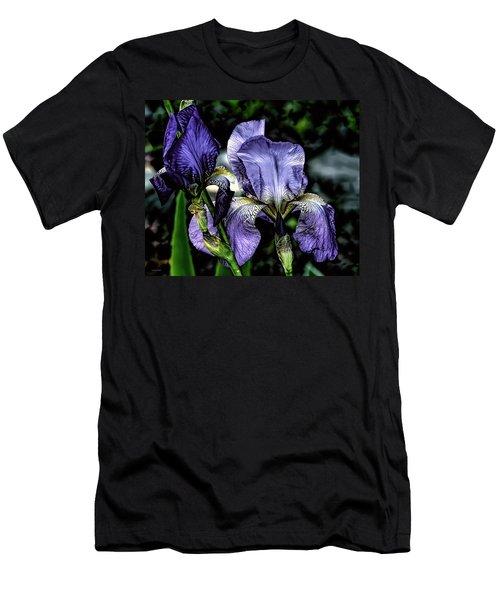 Heirloom Purple Iris Blooms Men's T-Shirt (Athletic Fit)